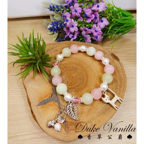 粉水晶 葡萄石 珍珠繽紛吊飾小貓手環