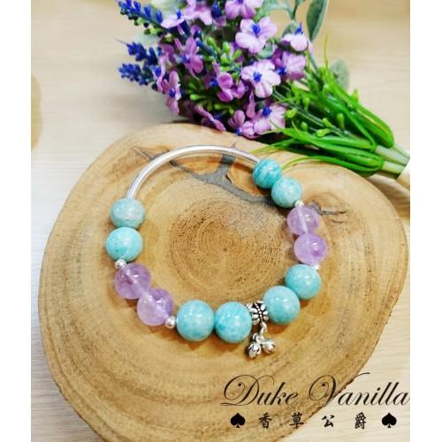 幸運自信天河石 紫水晶 925純銀配件手環