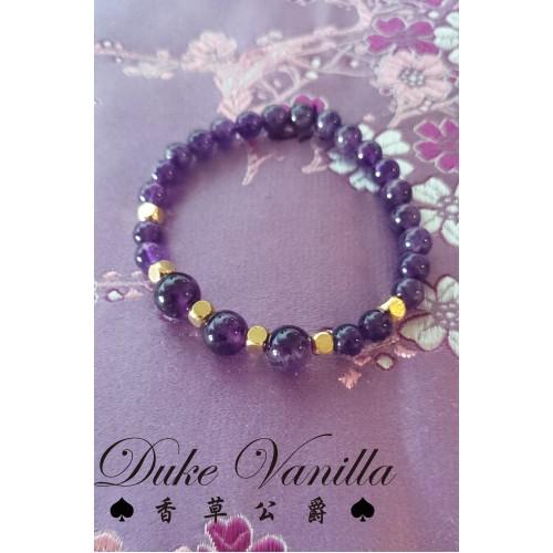 無電鍍黃銅方塊珠 貴氣紫水晶手環
