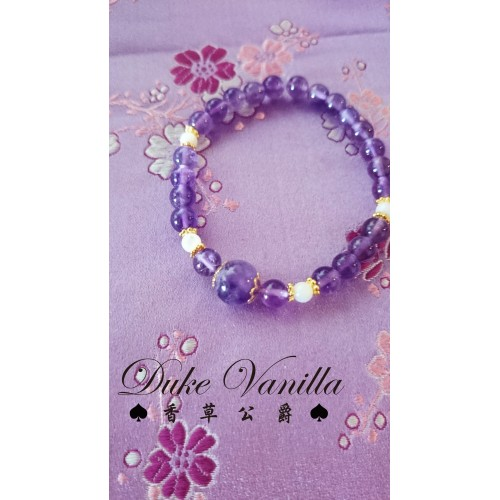 紫水晶車輪白貝殼珠相間手環