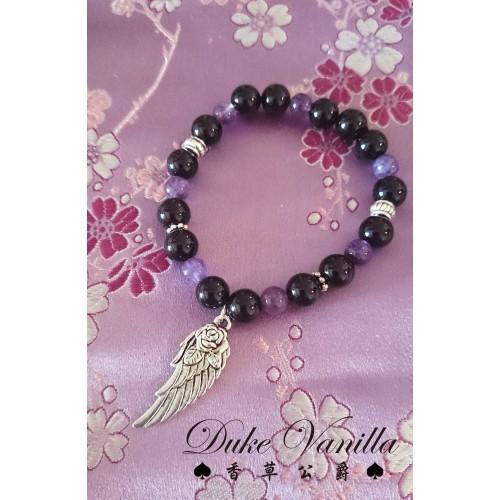 黑瑪瑙紫晶古銀翅膀手環