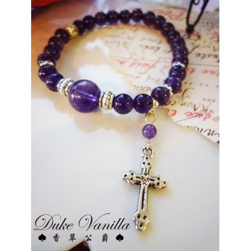 紫水晶十字架手環