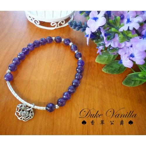 質感切面紫晶 純銀管珠吊飾手環