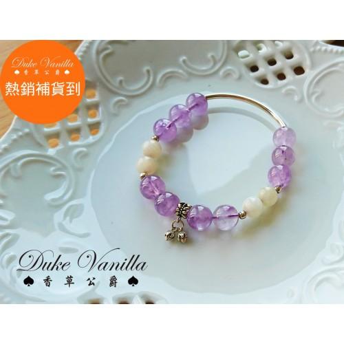 紫羅蘭紫晶 月光石純銀手環