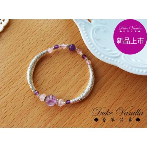 925純銀紋管清透紫羅蘭紫水晶手環