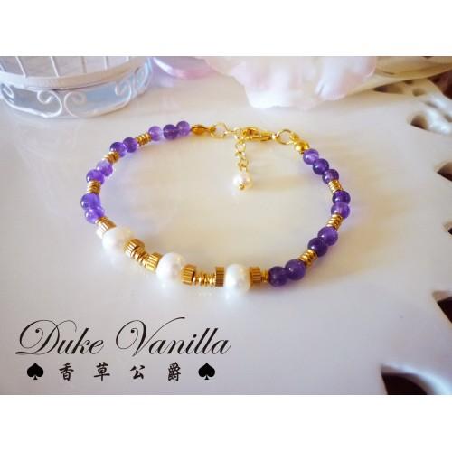 淡水珍珠紫水晶手環  無電鍍低過敏