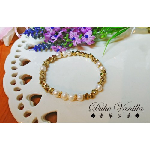 黃銅扭珠淡水珍珠手環