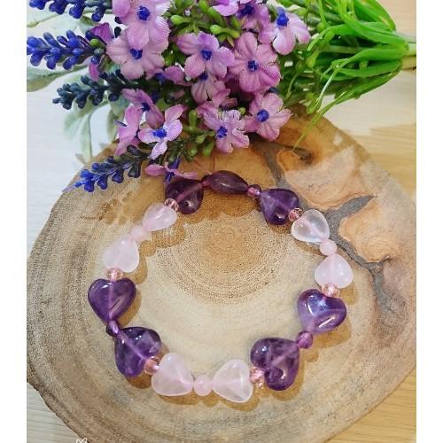 輕甜風愛心粉水晶 紫水晶 可愛蝴蝶結手環