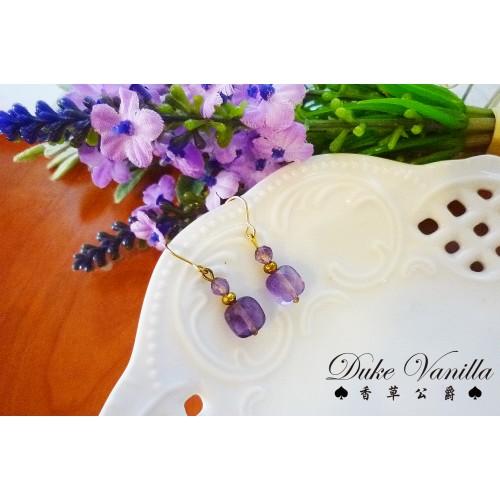 小方塊紫水晶簡約耳環