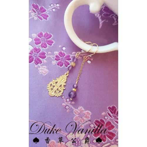 貴氣紫晶不對稱金花片耳環