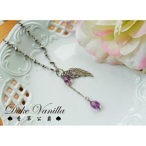 墮天使之淚*紫水晶 古銀折翼吊飾墜鍊