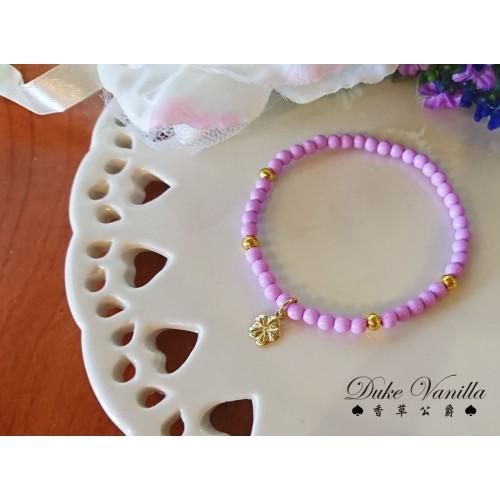 紫色小波麗珠金珠手環  小花吊飾
