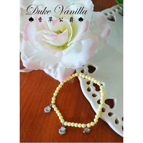 黃色波麗珠銀珠小貝殼手環