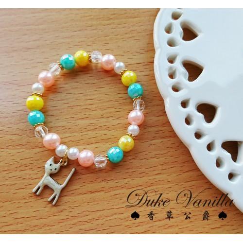 我們的暗號*華麗彩珠手環  小白貓吊飾