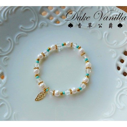 輕語*秀氣油珠綠色小彩珠相間手環 小金葉吊飾
