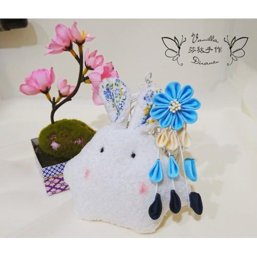 日式和風花髮飾 髮夾 冰藍