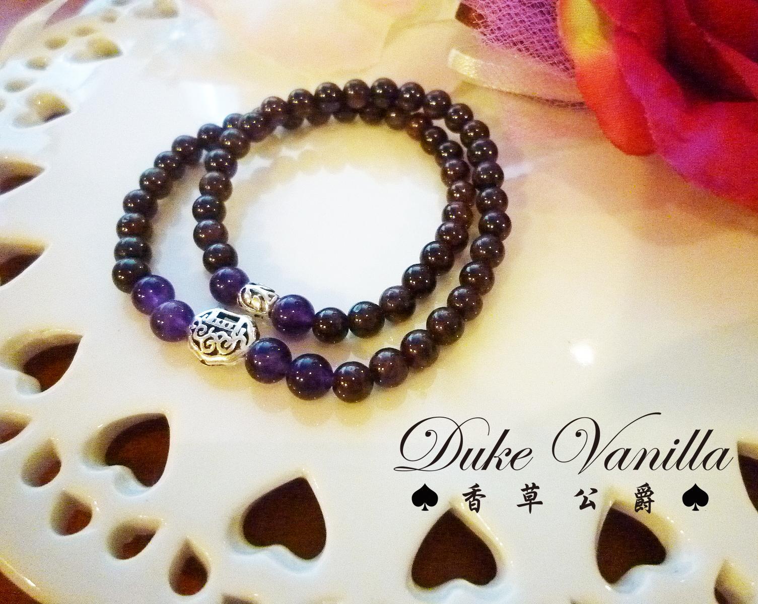 深紫紅紅石榴雙圈純銀小物手環 - Duke Vanilla 香草公爵