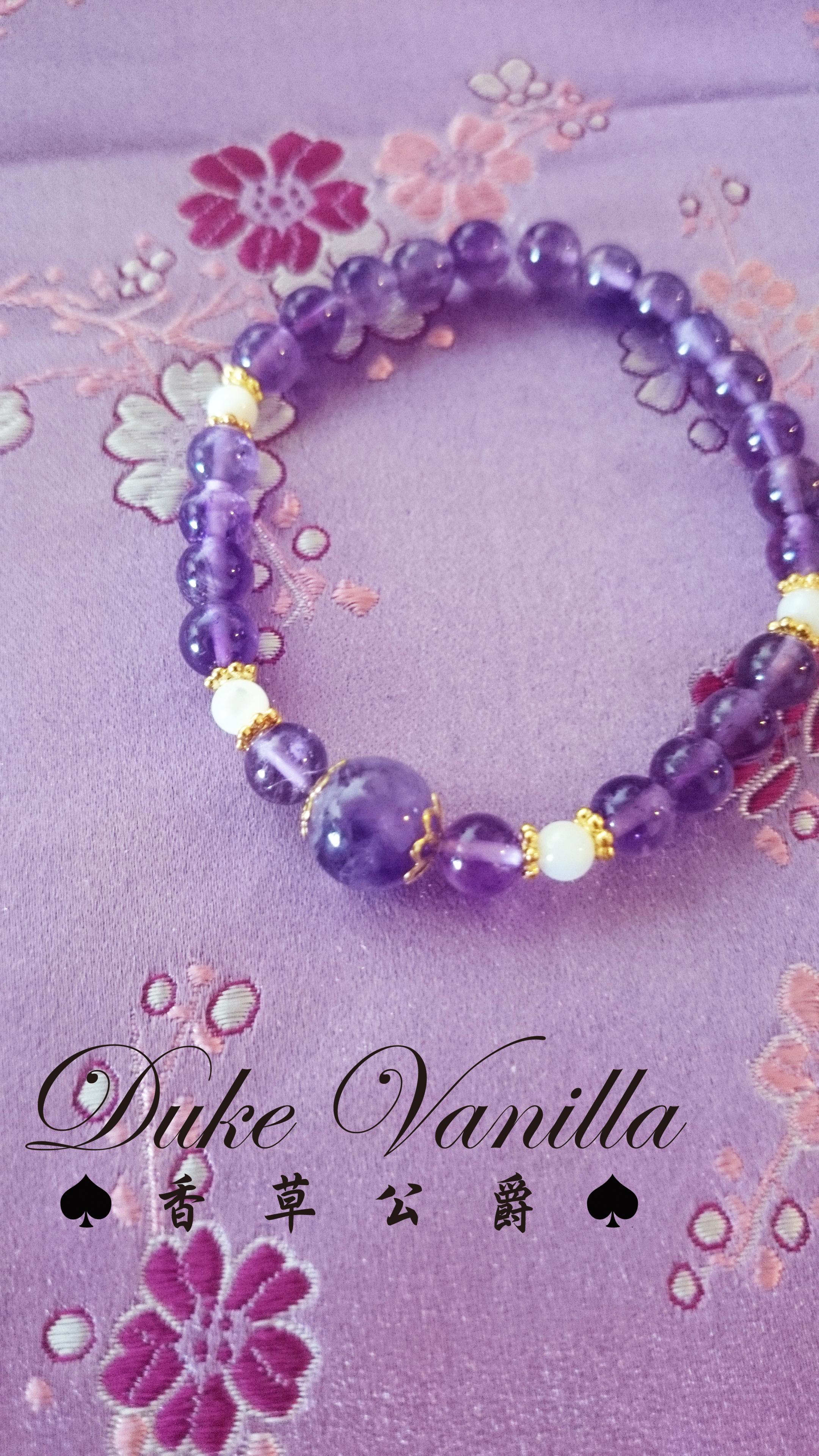 紫水晶車輪白貝殼珠相間手環 - Duke Vanilla 香草公爵