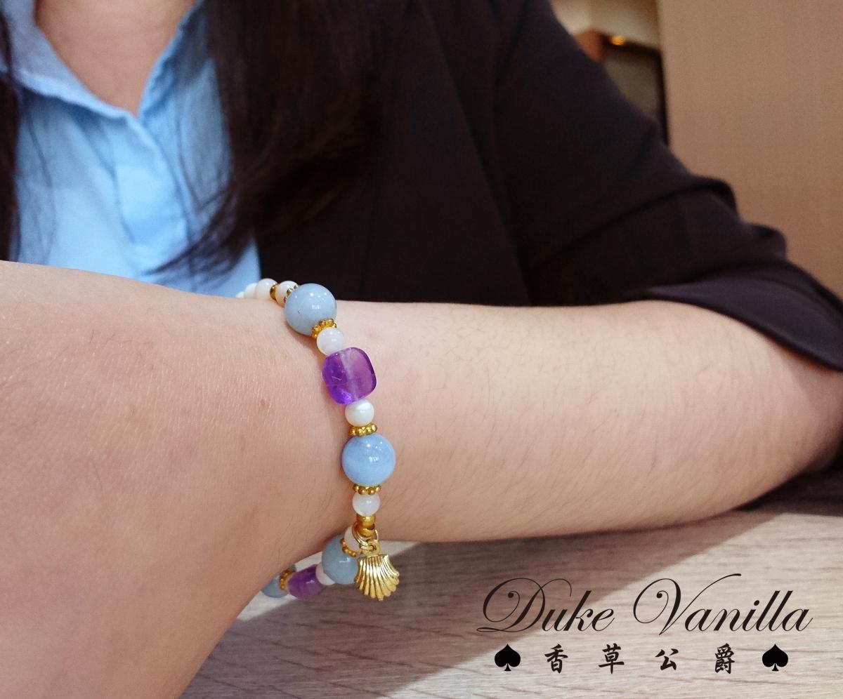 白貝殼海藍寶紫晶方塊金貝殼手環 - Duke Vanilla 香草公爵