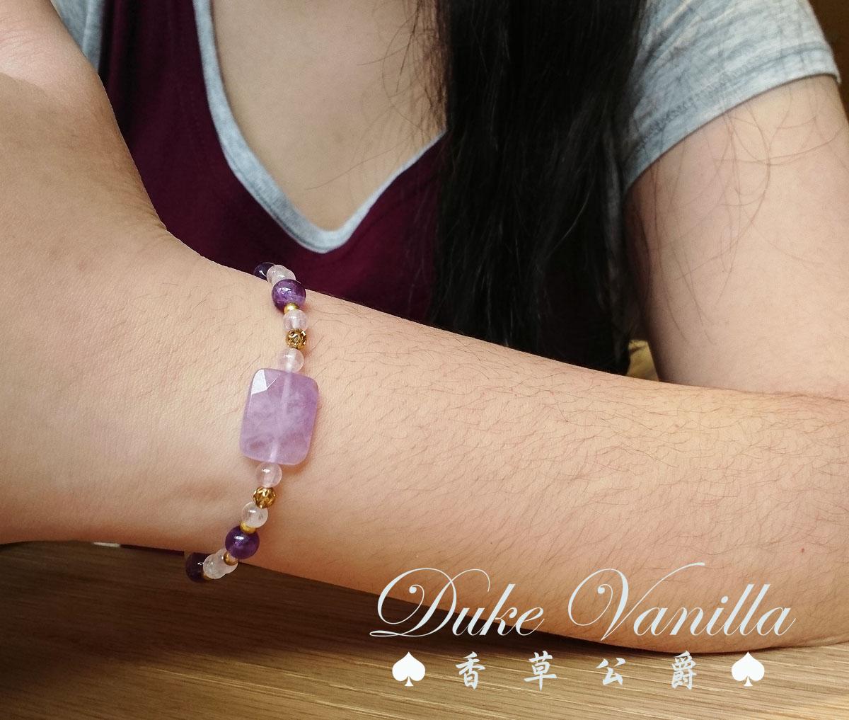 長方型紫晶粉晶金珠相間手環 - Duke Vanilla 香草公爵