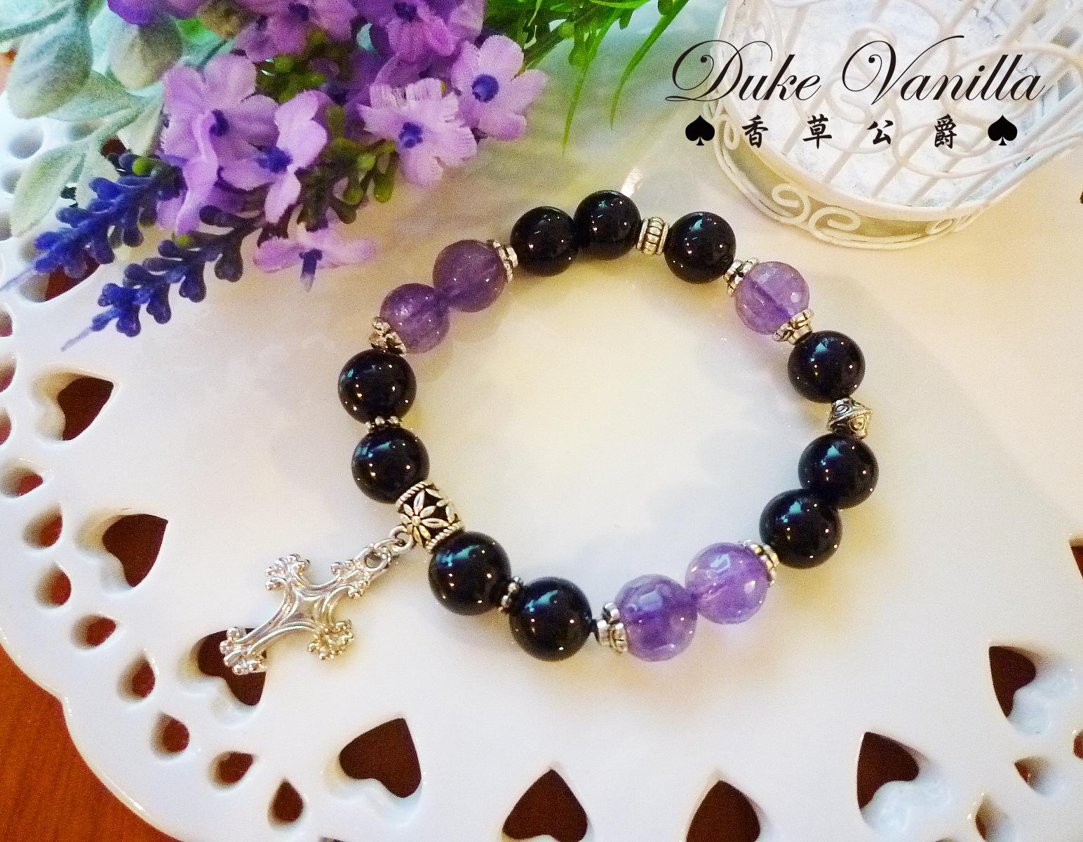 黑魔導* 寬版黑瑪瑙紫晶十字架手環 - Duke Vanilla 香草公爵