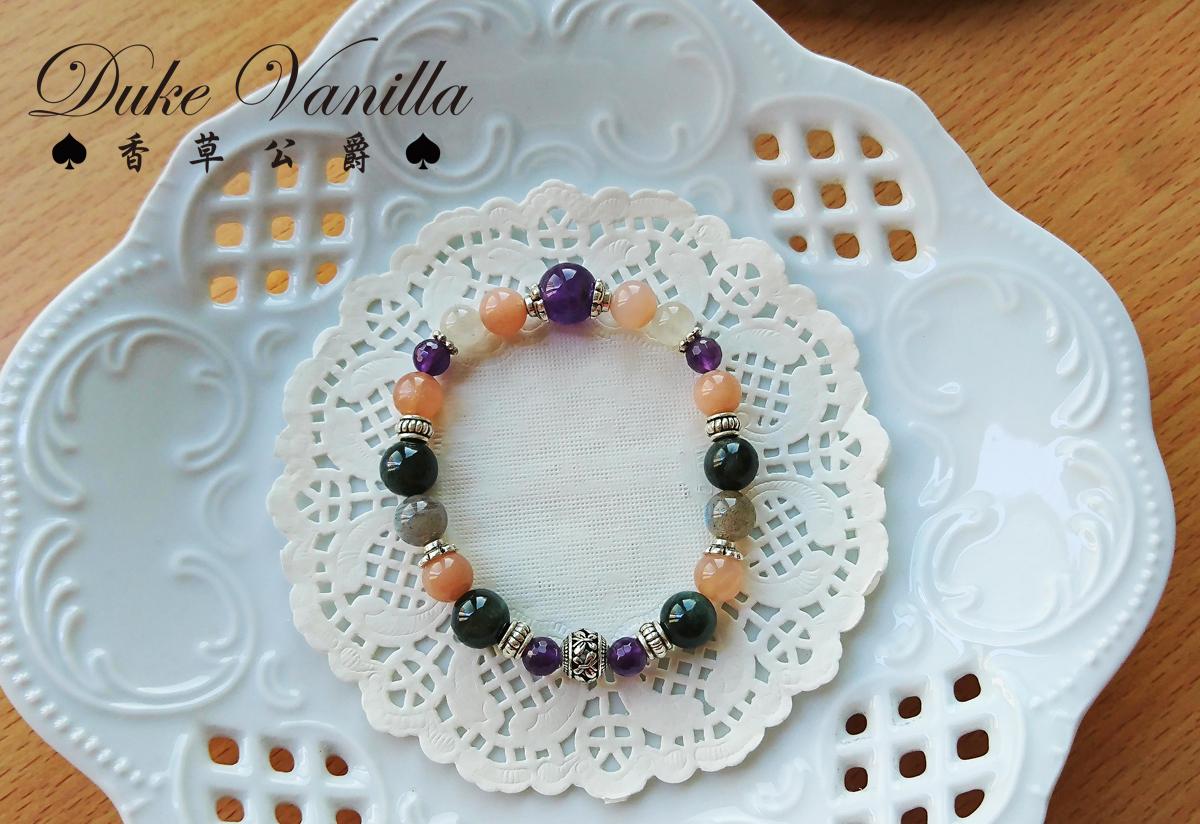華麗紫晶綠兔毛太陽石古銀手環 - Duke Vanilla 香草公爵