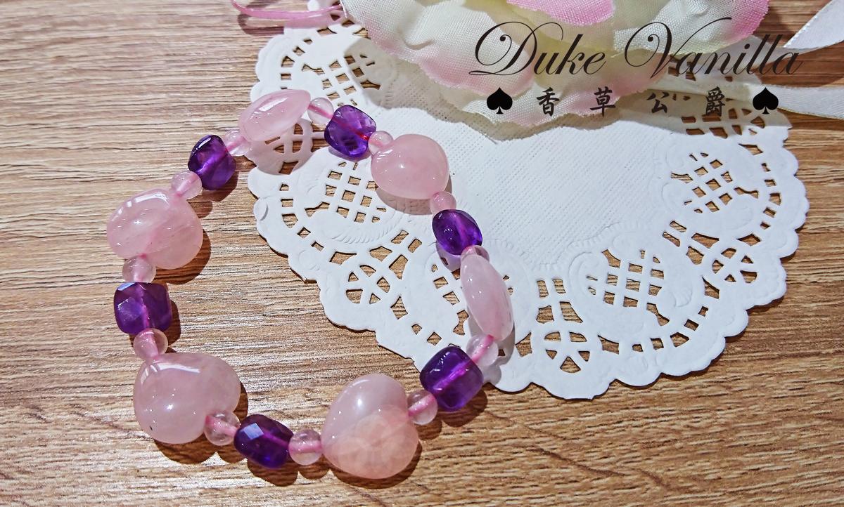 守護愛情的信念*愛心粉晶秀氣紫水晶方塊手環 - Duke Vanilla 香草公爵