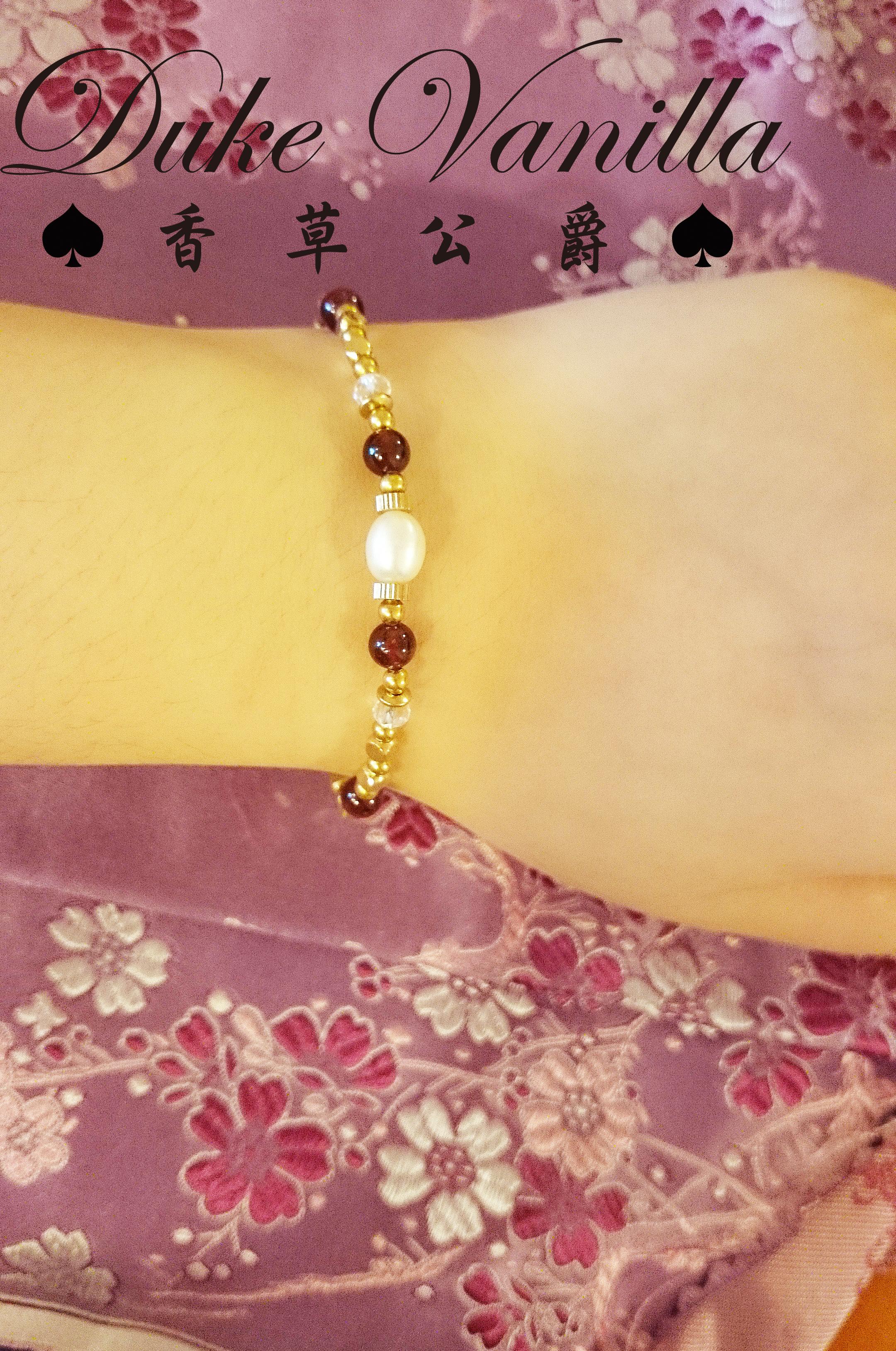 黃銅方珠紅石淡水珍珠手環 - Duke Vanilla 香草公爵