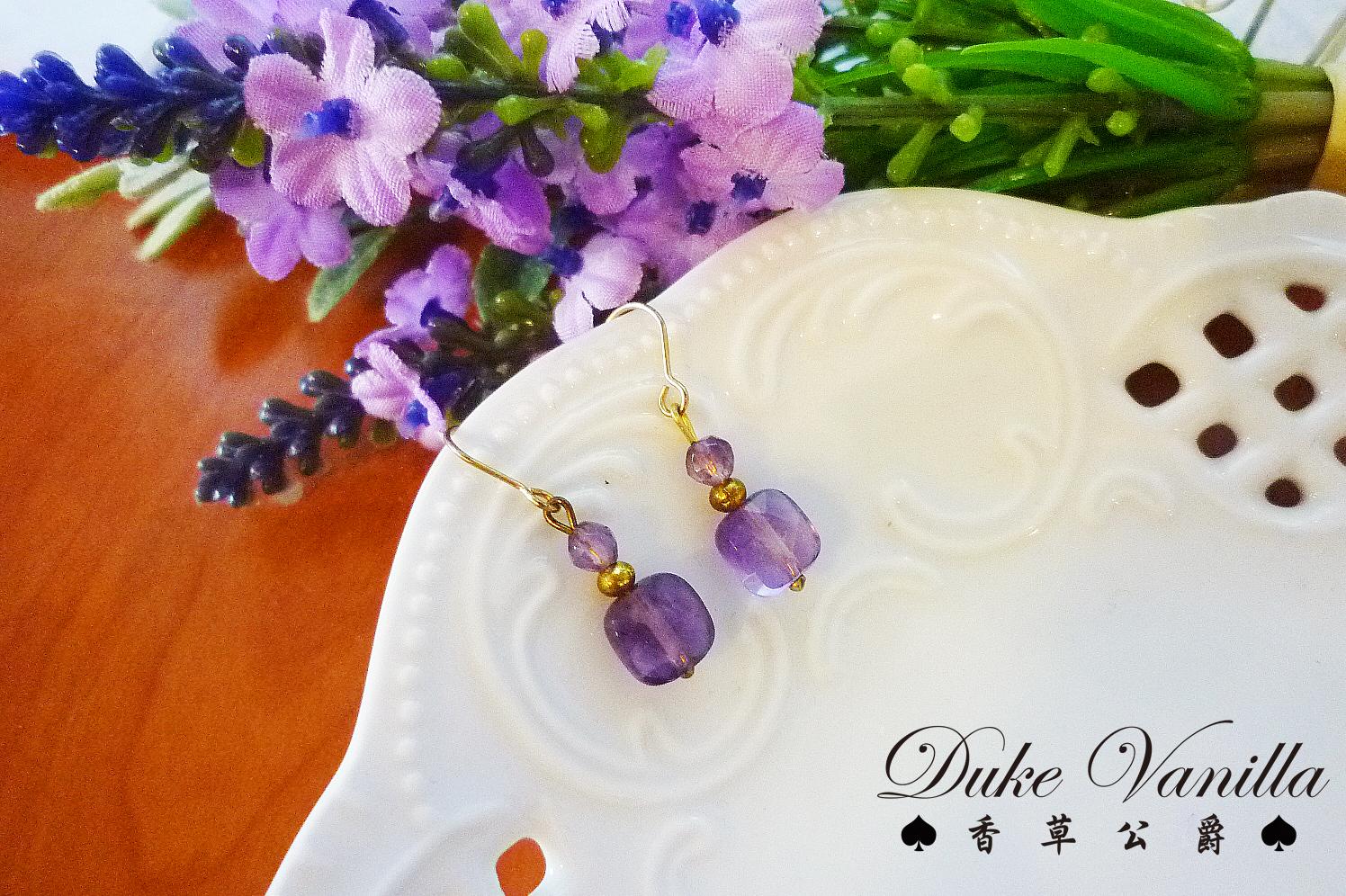 小方塊紫水晶簡約耳環 - Duke Vanilla 香草公爵