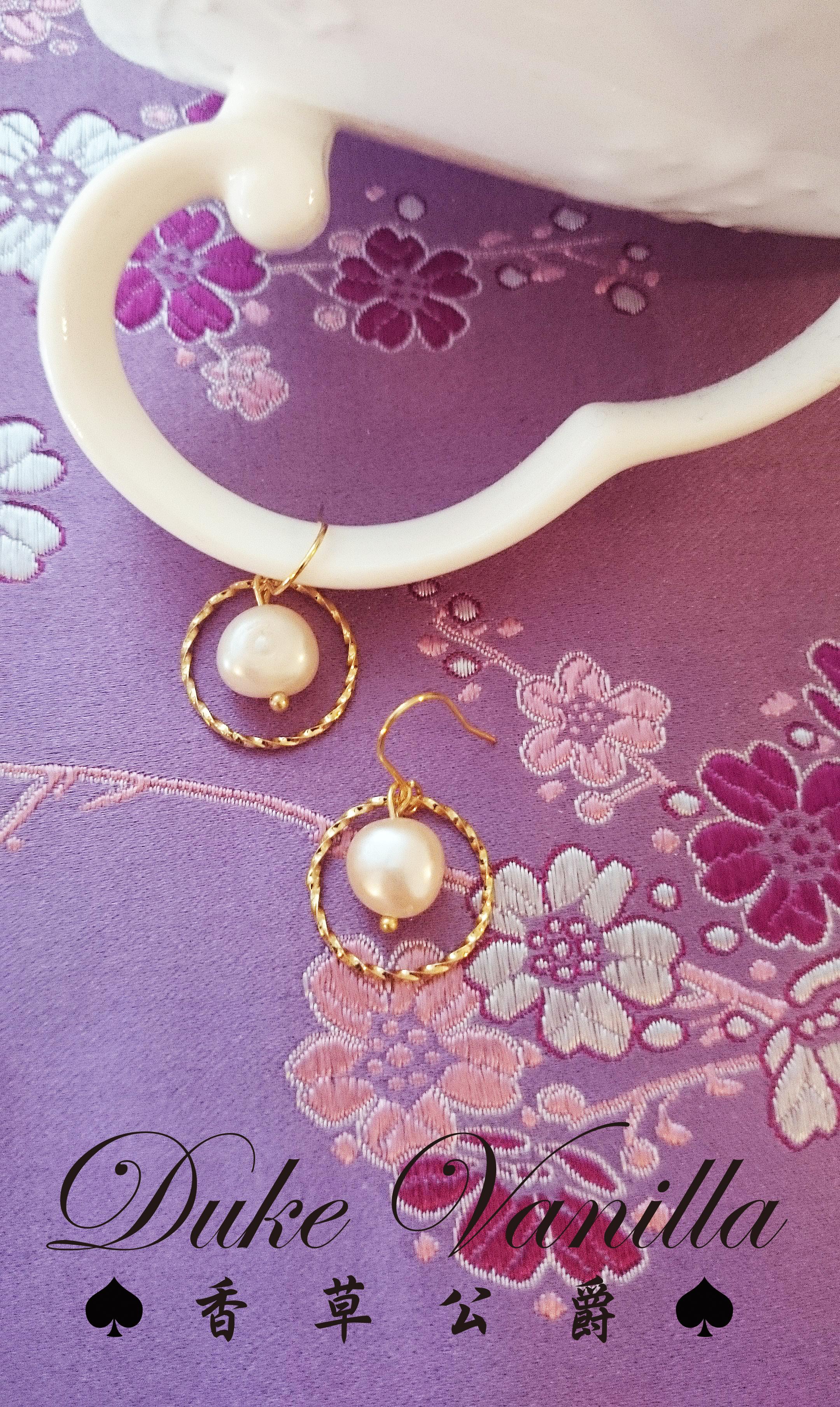 簡約和圓-淡水珍珠金圈耳環 - Duke Vanilla 香草公爵