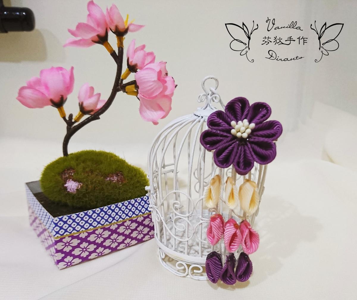 日式和風花髮飾 髮夾 沉紫 - Duke Vanilla 香草公爵