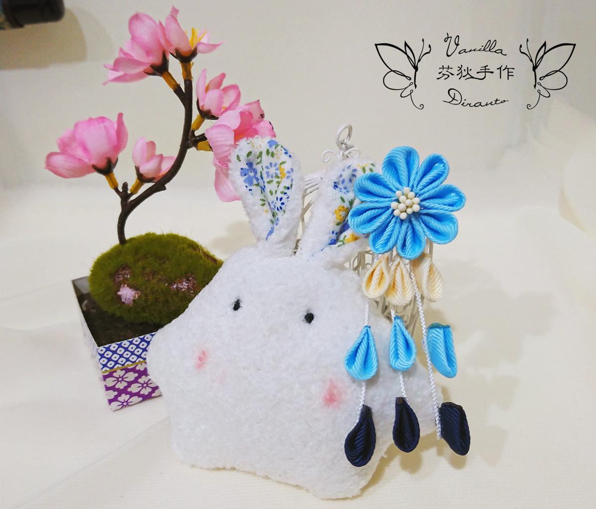 日式和風花髮飾 髮夾 冰藍 - Duke Vanilla 香草公爵