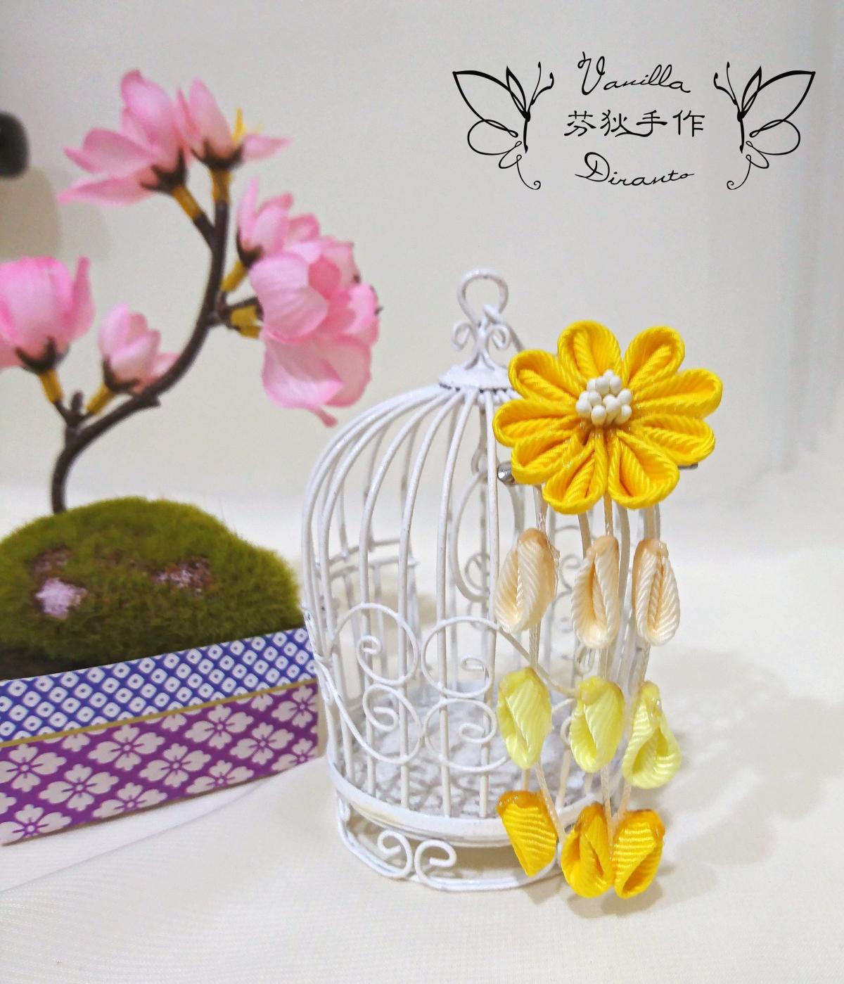 日式和風花髮飾 髮夾 豔黃 - Duke Vanilla 香草公爵